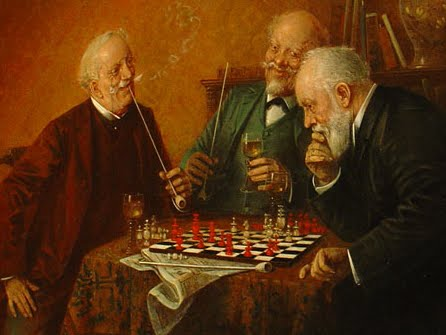 Three gentlemen playing chess (and smoking), Hans Lassen oil