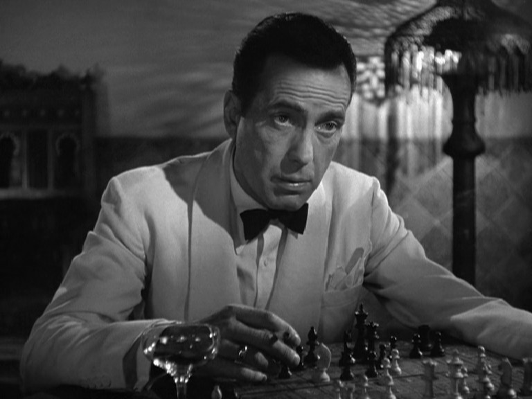 Bogart smoking and playing chess in Casablanca